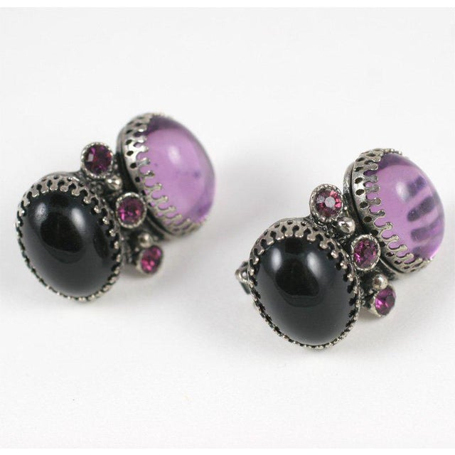 Amethyst Lavender and Black Jeweled Necklace and Earrings For Sale - Image 7 of 10