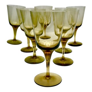 Vintage Russel Wright Crystal Topaz Wine Glasses - Set of 8 For Sale