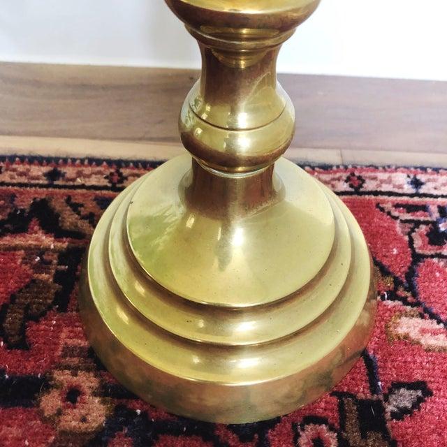 Vintage Tall Brass Candlestick Holder For Sale - Image 4 of 5
