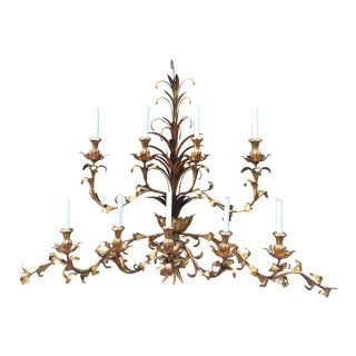 Hollywood Regency Gilt Lighted 8-Arm Wall Sconce
