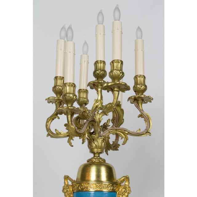 Late 19th Century Large Urn Form French Gilt Bronze and Turquoise Porcelain Candelabra For Sale - Image 5 of 10