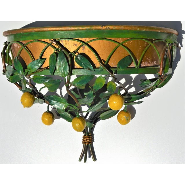 Metal Vintage Italian Tole Lemon Tree Wall Sconce With Planter For Sale - Image 7 of 10