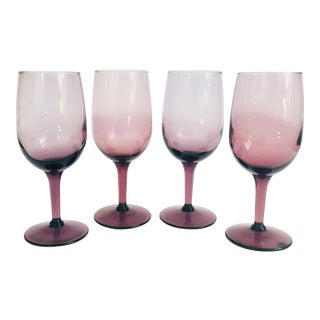 Vintage Dark Purple Wine Glasses - Set of 4 For Sale