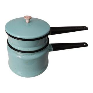 Vintage Turquoise Enamelware Double Boiler Pot For Sale