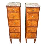 Image of French Louis XVI Satinwood Marble Top Bedroom Chest-A Pair For Sale
