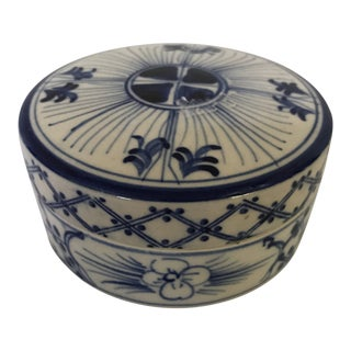 Chinese Blue & White Porcelain Box With Lid For Sale
