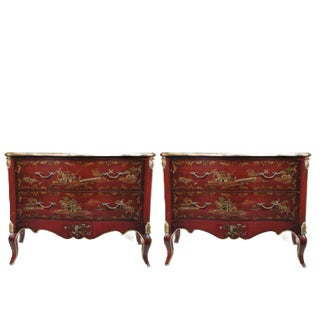 Louis XV Style Chinoiserie Red Lacquer Hand Painted Commodes - a Pair For Sale