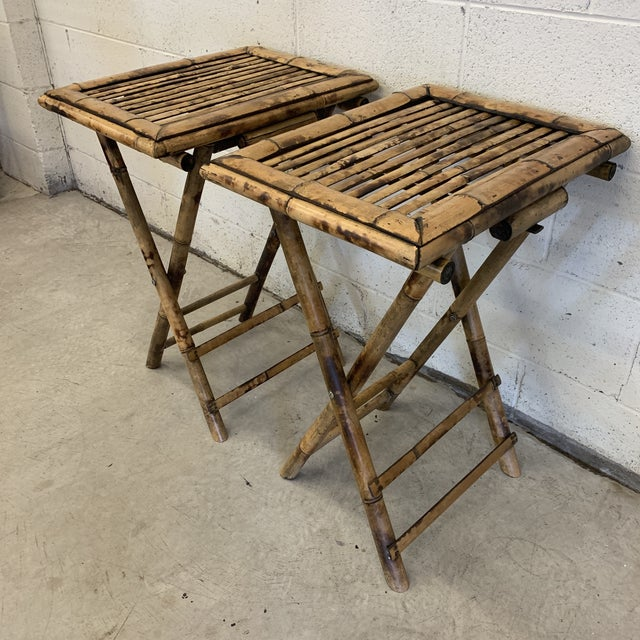 Excellent pair of bamboo folding tray tables or TV tray tables, we called them in the 60s and 70s! So handy to have around...