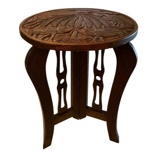 Colonial Carved Top Table For Sale
