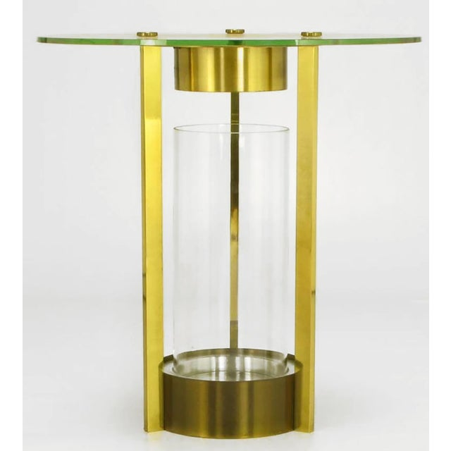 Brass & Glass Cylindrical End Table Attributed To Dorothy Thorpe For Sale - Image 4 of 7