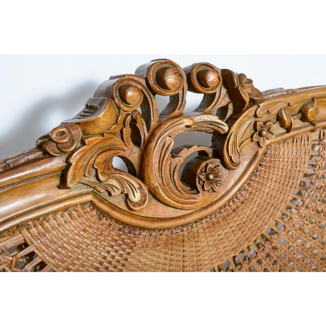 Antique French C.1870-1880 Louis XVI Style Hand Carved Wood Settee With Double Canning For Sale - Image 11 of 13