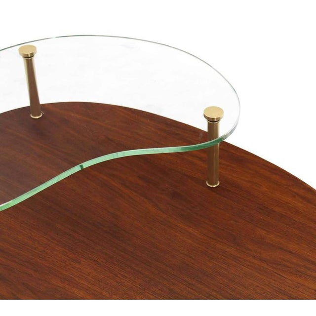Vintage Mid Century Walnut Glass & Brass Organic Shape Side Table For Sale - Image 4 of 10