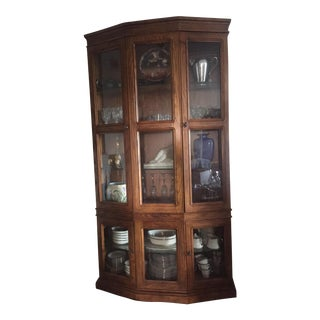 Baker Style 5-Sided Walnut Display Cabinet