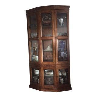 Henredon 5-Sided Oak Display Cabinet