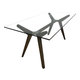 Modern Glass and Wooden Dining Table