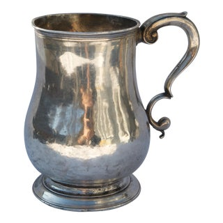 Mid 18th Century Hand-Hammered George II Silver Tankard For Sale