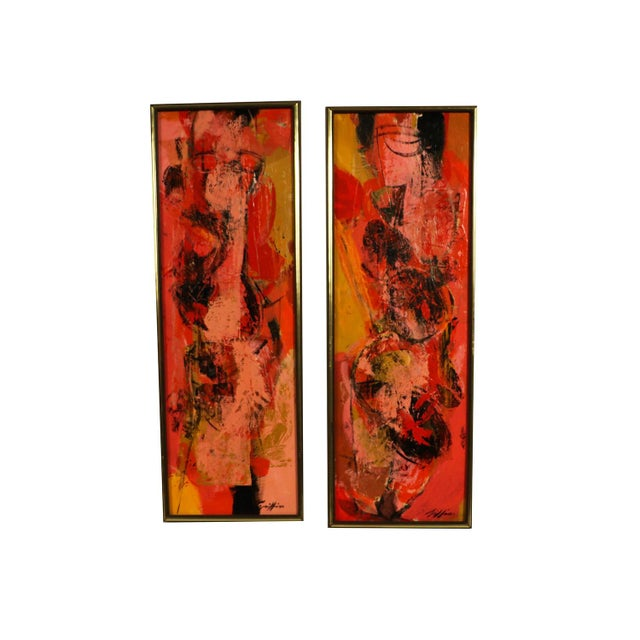 "Mid Century Abstract Expressionist Oil paintings signed ""Griffin"" - a Pair For Sale - Image 11 of 11"