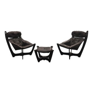 1960s Folke Ohlsson Scandinavian Leather Lounge Chairs & Ottoman - Set of 3 For Sale