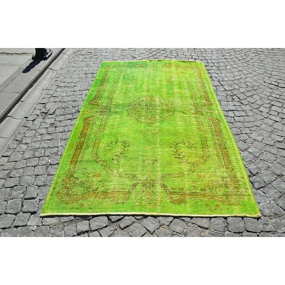 Vintage Green Overdyed Rug - 5′1″ × 8′1″ - Image 2 of 6