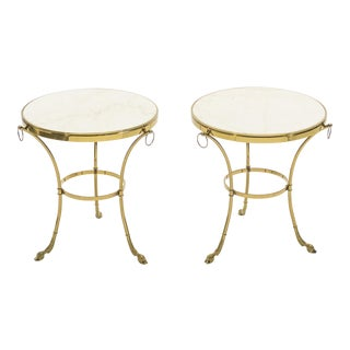 Pair of Neoclassical Maison Charles Brass Marble Gueridon Tables 1970s For Sale