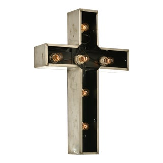 Vintage Lighted Church Cross Sign in Stainless Steel For Sale