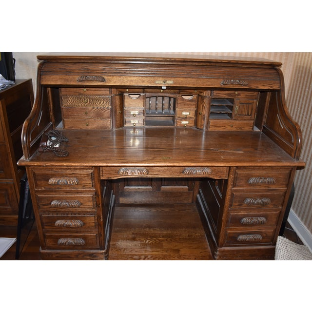 Traditional Oak Crest Manufacturing Rolltop Desk For Sale - Image 10 of 10