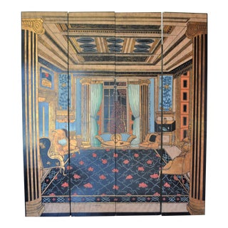 Vintage Trompe l'Oeil Custom Four Panel Screen, Designed by George Weinle For Sale