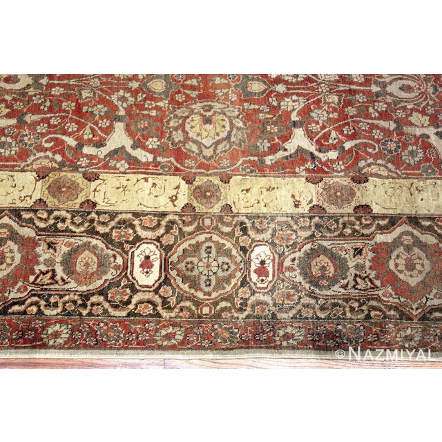 1900 - 1909 Room Size Antique Persian Tabriz Rust Color Rug - 10′7″ × 14′5″ For Sale - Image 5 of 11
