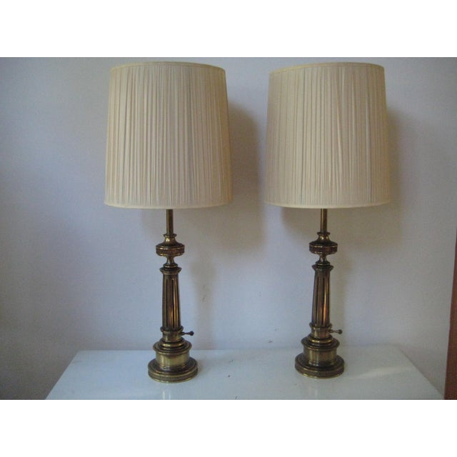 Stiffel Federal Style Brass Table Lamps - A Pair - Image 3 of 7