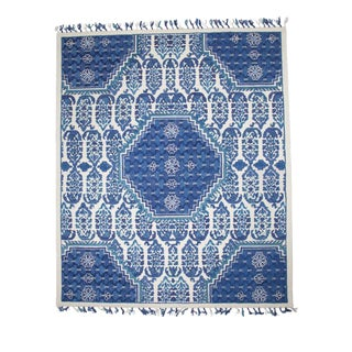 Boho Chic Blue & White Classic Wool Rug