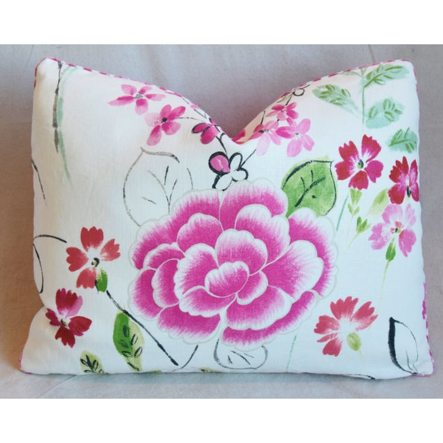 """Early 21st Century French Manuel Canovas Floral Linen Feather/Down Pillows 23"""" X 17"""" - Pair For Sale - Image 5 of 13"""