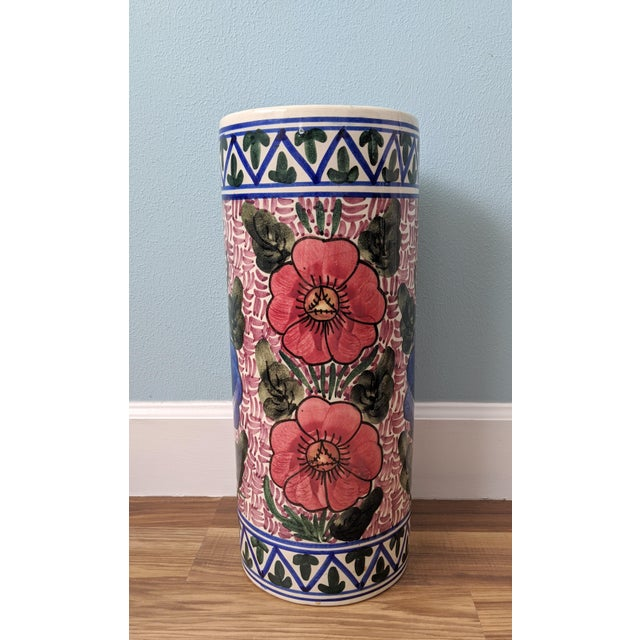 20th Century Floral Blue and Pink Ceramic Umbrella Stand For Sale In Houston - Image 6 of 11