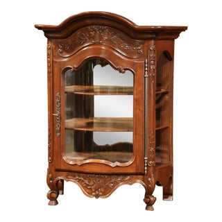 Early 20th Century French Carved Bombe Walnut Hanging Vitrine from Provence