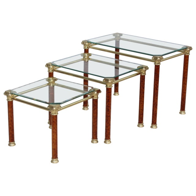 1980s Italian Brass Nesting Tables For Sale - Image 11 of 11