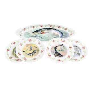 1950s Victoria Austria Porcelain Fish Platter and Dish Set - 5 Pieces For Sale