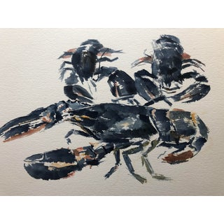 Impressionist Lobster Watercolor 1970s For Sale