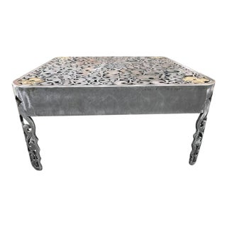 Signed Brutalist Cut Steel Coffee Table For Sale