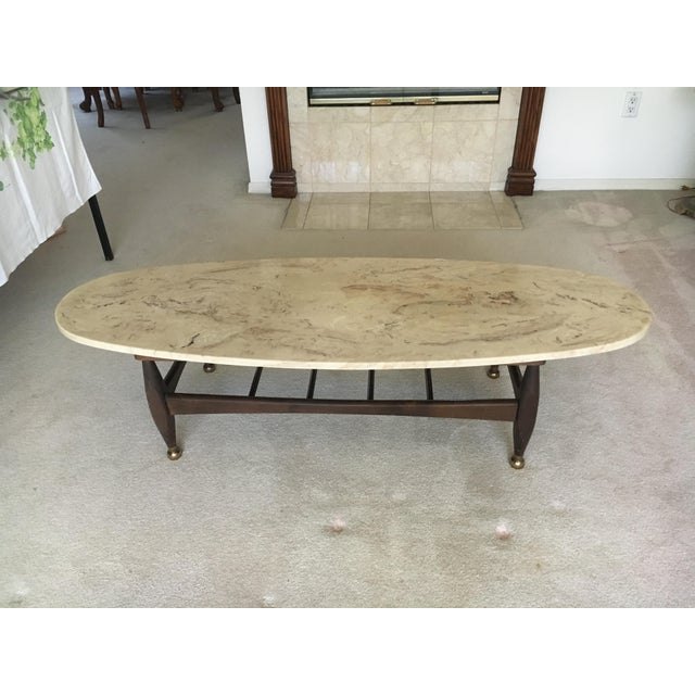 Mid-Century Marble Top Coffee Table - Image 2 of 8