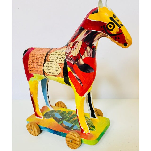 Papier Mâché Sculpture of a Horse in Polychrome Arabic Writing For Sale - Image 4 of 12