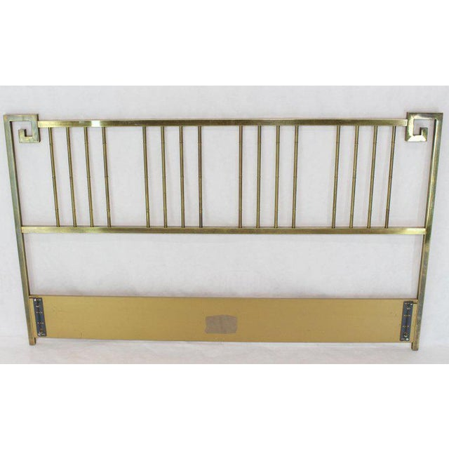 King Size Brass Headboard Bed by Mastercraft Greek Key Faux Bamboo For Sale - Image 6 of 6