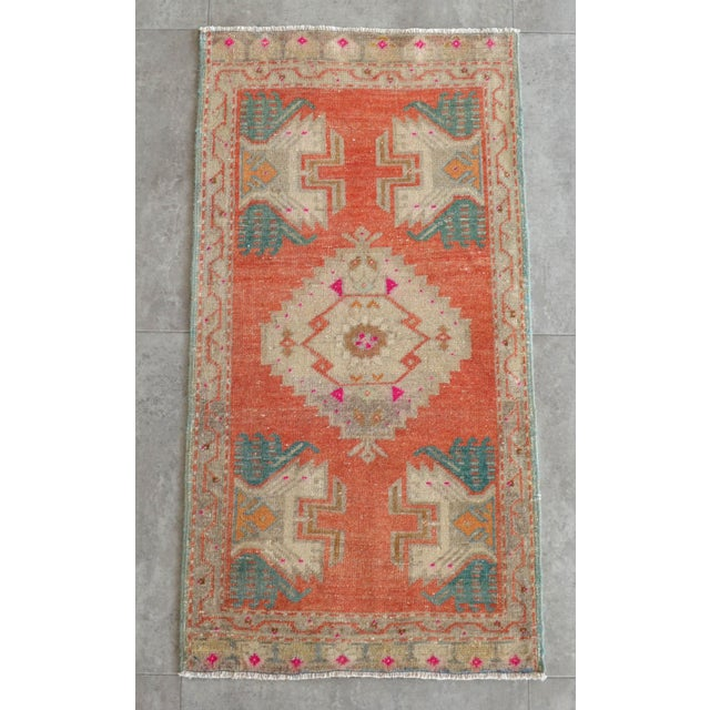 Hollywood Regency Hand Knotted Door Mat, Entryway Rug, Bath Mat, Kitchen Decor, Small Rug, Turkish Rug - 1′8″ × 3′3″ For Sale - Image 3 of 5
