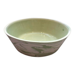 Modern Green Marbled Bowl For Sale