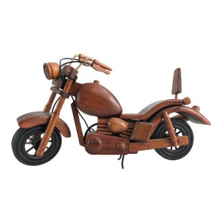 Vintage Motorcycle Wood Model Sculpture For Sale