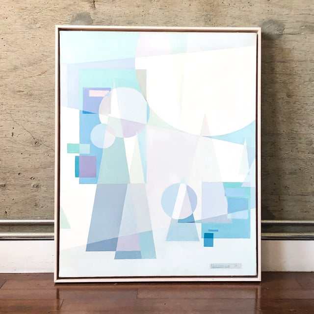 Original abstract modern art painting, framed. Dated 1971 and signed by artist.
