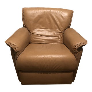 Bloomingdale's Tan Leather Chair For Sale