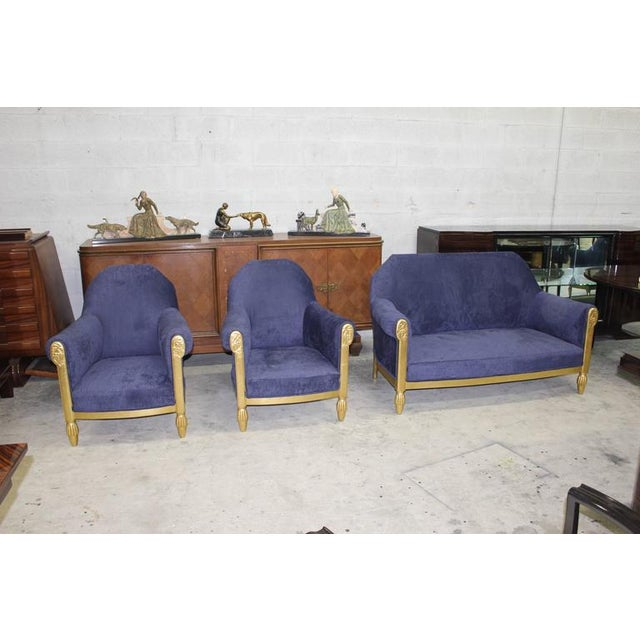 Art Deco French Art Deco Paul Follot Settee & Chairs - Set of 3 For Sale - Image 3 of 10