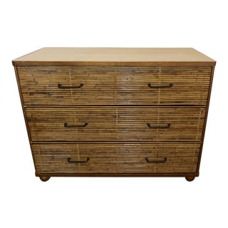 Vintage Reeded Bamboo Chest of Drawers With Raffia Top For Sale