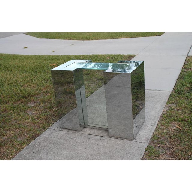 Milo Baughman Style Mirrored Chrome Dining Table Base For Sale - Image 9 of 12