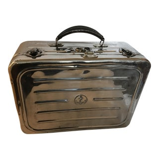 Vintage English Navy Polished Metal Suitcase