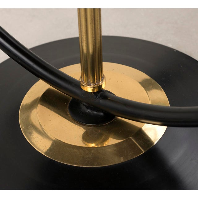 Gold French Floor Lamp in Brass and Black Lacquer with Etched Glass Diffusers, 1950s For Sale - Image 8 of 10